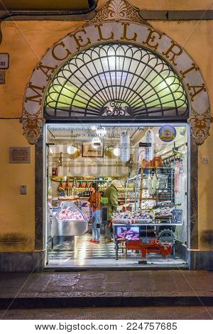 Florence Italy - Oct 30, 2017: Butcher shop in Florence, Tuscany, Italy as seen from the outside - Macelleria means butcher in Italian