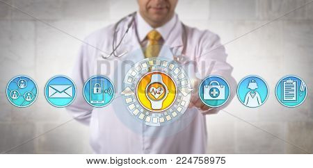 Unrecognizable male clinician adding a smart wristwatch with an ECG app to his communications tools. Health care technology and connectivity concept for wearable tech devices and electrocardiography.