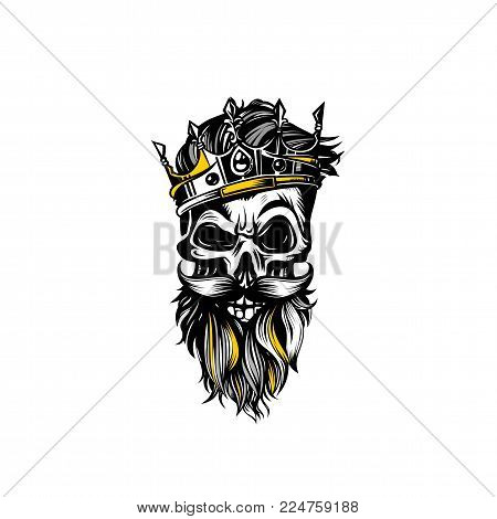 yellowish skull with crown and beard on white background vector illustration design.