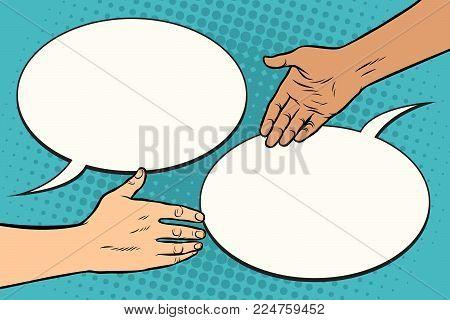 contract handshake meeting. Pop art retro vector illustration.