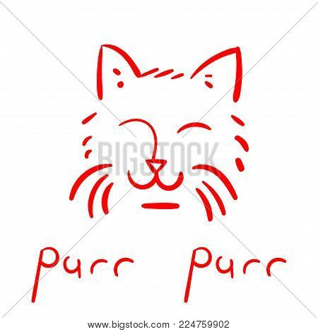 A sketch of a cat with a red line. Satisfied muzzle of the cat. Poster. Vector illustration.