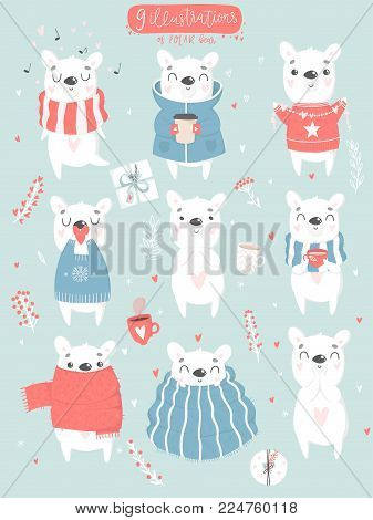Cute hand drawn illustrations collection with cute polar bear. Cards, tags, posters, labels templates design set. Valentines day romantic love symbols or cute girl or baby shower room decor element
