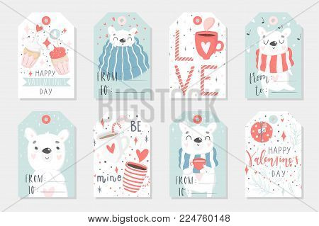 Set of 8 cute ready-to-use gift tags with polar bear. Gifts, hearts, cups and magic. Printable collection of hand drawn Valentine's Day label in gentle colors. Vector badge design