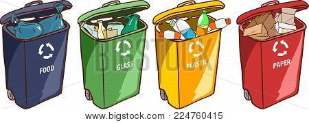 vector illustration of a Recycling Bins for Paper Plastic Glass  Trash
