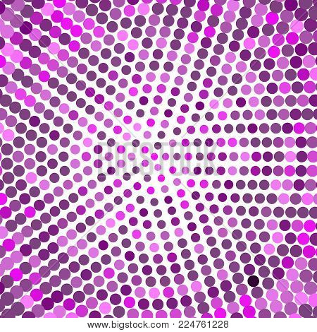 Abstract dotted background halftone dots radial texture vector illustration. Dot circle art backdrop dotted element design effect geometric shape round texture shades purple graphic decoration light.
