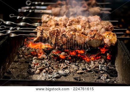 Roasted Meat Cooked At Barbecue