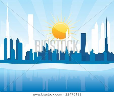 Cityscape Dubai, sunrise scene with skyscrapers