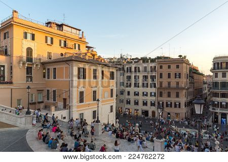 ROME, ITALY - JUNE 23, 2017: Amazing Sunset view of Piazza di Spagna in city of Rome, Italy