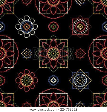 Hobbies embroidery vector illustration. Seamless pattern background.
