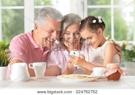 Portrait of smiling grandparents with granddaughter using smartphone