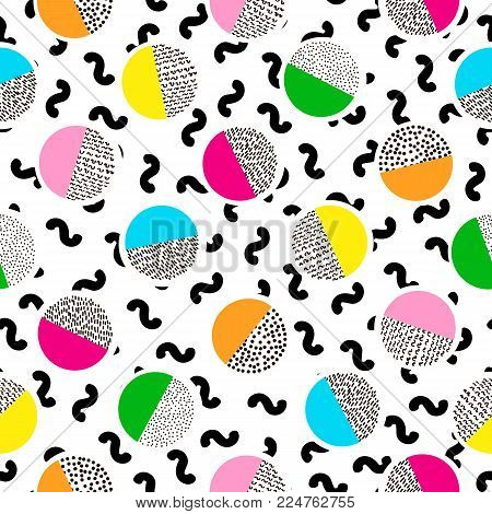 Colorful seamless pattern from circles. Bright background. 80's - 90's years design style. Trendy. Vector illustration