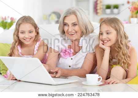 Portrait of granny with her granddaughters using laptop