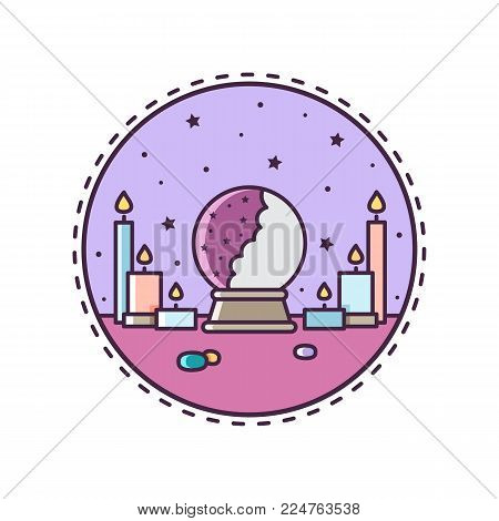 Crystal ball. Vector illustration of crystal ball and candles. Icon.
