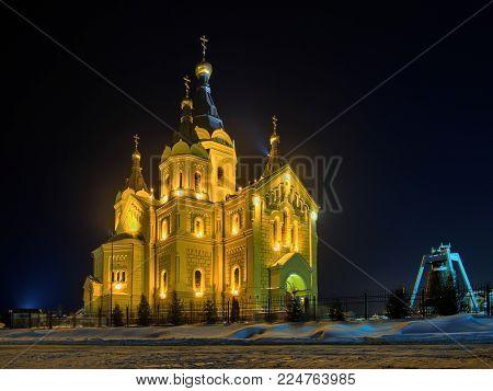 Winter night view of Alexander Nevsky cathedral in Nizhny Novgorod