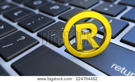 Business registered trademark concept with golden symbol and icon on a computer keyboard 3D illustration.