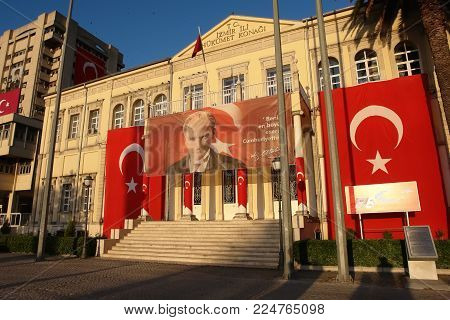 Izmir, Turkey - April 21, 2012: Building of the Government House in evening on sunset in Izmir. The governor's office on Konak Square is one of the city's major landmarks.