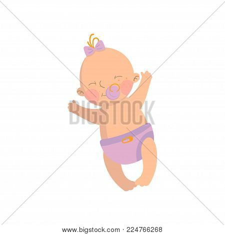 Sweet baby girl in pink diaper with pacifier cartoon vector Illustration isolated on a white background