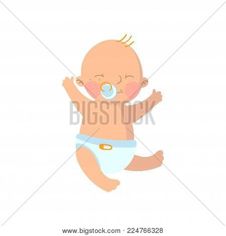 Sweet baby boy in diaper with pacifier cartoon vector Illustration isolated on a white background