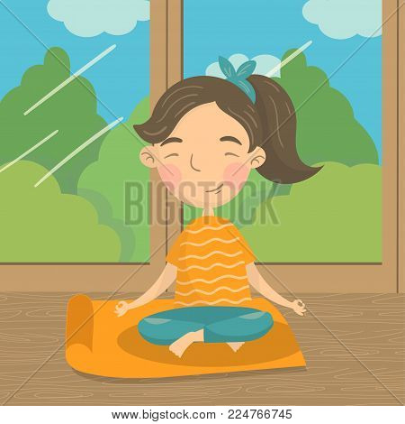 Beautiful girl sitting in lotus position and meditating, teen girl practicing yoga on the background of window with summer view colorful vector illustration in cartoon style.