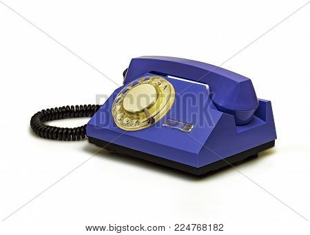 On white background retro telephone with a round dialer