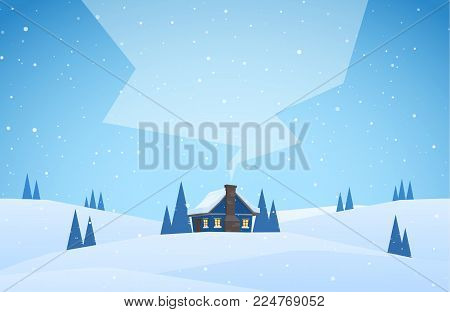 Vector illustration: Winter snowy landscape with cartoon house with hills and smoke from the chimney.