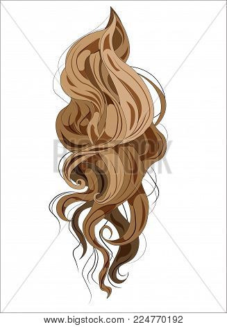 vector ringlets of hair, long and curling, brown