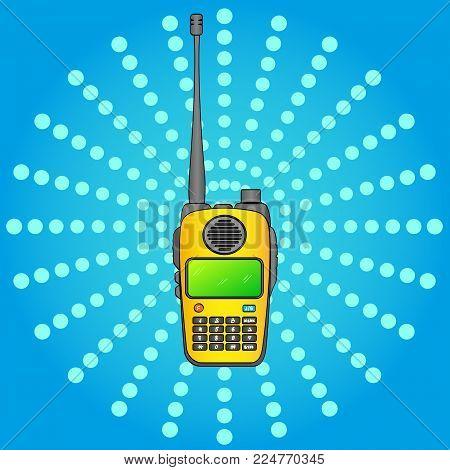 Walkie talkie. Radio station. Portable receiving transceiver. Pop art vector object