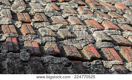 Old House Top Roof With Red Orange Pattern Ceramic Tiles, Texture Background