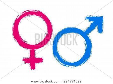 Female and male signs or icons drawn with brush and paint for sexual man and woman definition