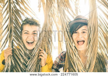 Happy playful girlfriends in love sharing time together at travel trip playing with palm tree - Women friendship concept with girls couple having fun on pure carefree mood - Bright sunset filter