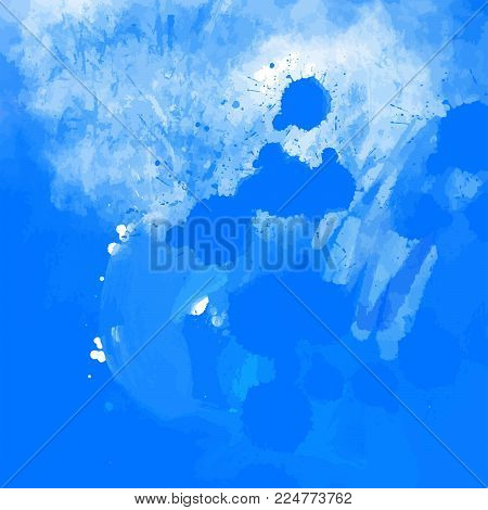 Blue grunge paint splatter background. Stain in grunge style. Perfect for designing and decorating banners and flyers.