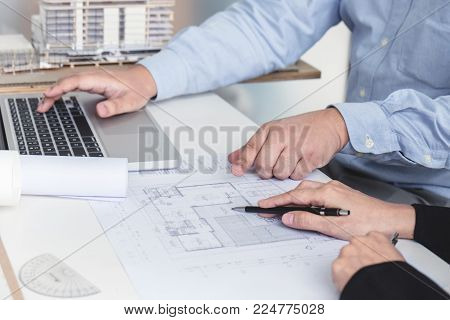 Engineering Or Creative Architect In Construction Project, Engineers Hands Working On Construction B