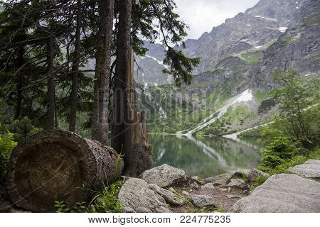 Reflection of Tatra mountain peaks in Morskie Oko lake. Eye of the Sea lake in Tatra mountains, Poland. Polish Tatra mountains Morskie Oko. Tatra mountains. Crystal clear water. Europe.