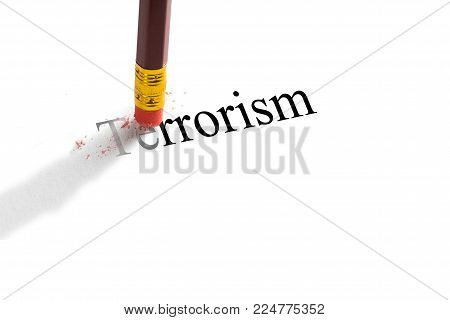 Pencil eraser trying to remove the word 'terrorism' on paper.