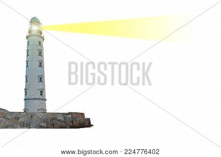 Lighthouse On Island With Searchlight Beam