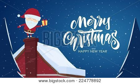 Vector illustration: Greeting card with cartoon scene. Santa Claus with gift on chimney and handwritten lettering of Merry Christmas