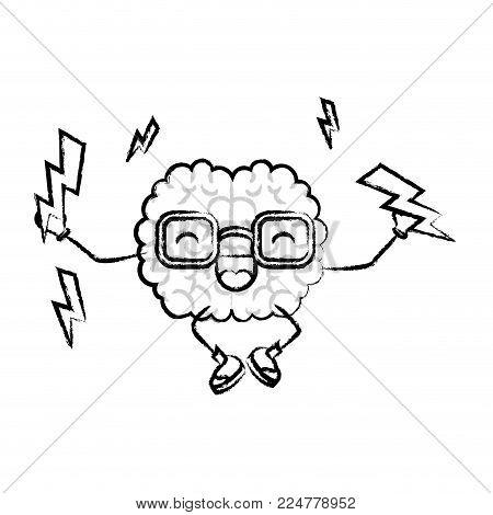brain character lightings mind intelligence neurology fun cartoon caricature comic graphic vector illustration