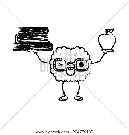 brain character wink books expression mind intelligence neurology fun cartoon caricature comic graphic vector illustration