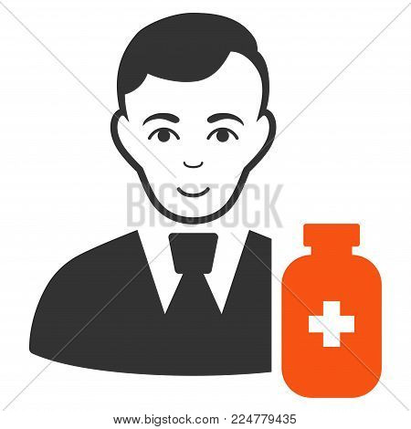 Medical Pharmacist vector flat pictograph. Human face has positive sentiment.