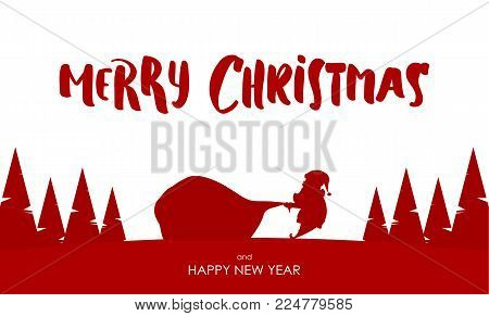 Vector illustration: Design template of greeting card with Silhouette of Santa Claus pulls a heavy bag full of gifts. Cartoon scene. Hand drawn lettering of Merry Christmas.