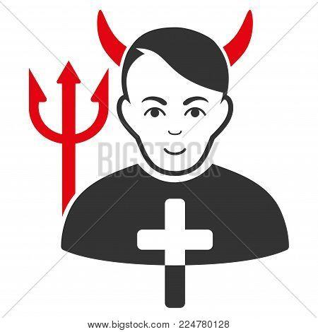 Satan Priest vector flat pictograph. Human face has enjoy sentiment.