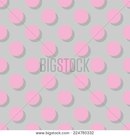 Tile vector pattern big pink polka dots with shadow on grey background