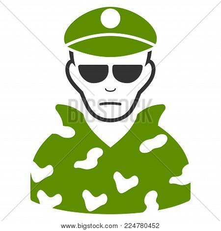 Soldier vector flat pictograph. Human face has joy emotions.