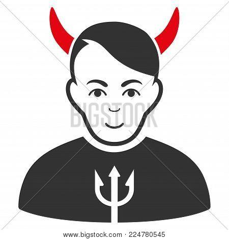Satan vector flat icon. Human face has happy emotion.