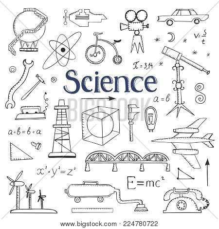 Collection of doodle drawings science, physics. Hand drawings on a white background