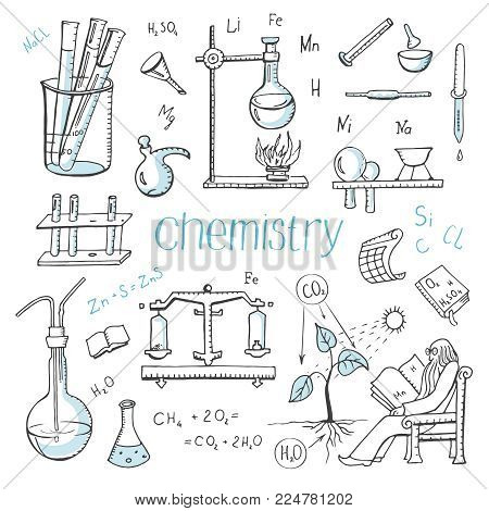 Vector set of doodle drawings of chemistry. Hand drawings on a white background. Laboratory, chemistry in school