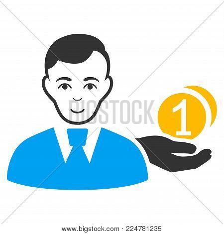 Money Payer vector flat pictograph. Human face has positive feeling.