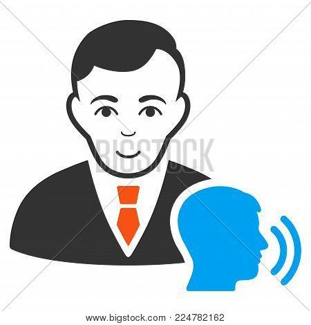 Psychotherapist Visit vector flat pictogram. Person face has joy sentiment.