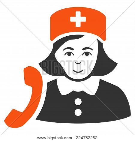 Receptionist Nurse vector flat pictogram. Human face has happy emotions.