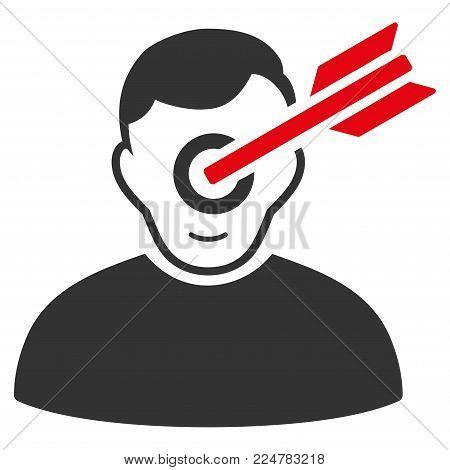 Target Man vector flat pictogram. Human face has joy sentiment.